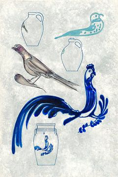 Blauw porselein schilderij van Mad Dog Art