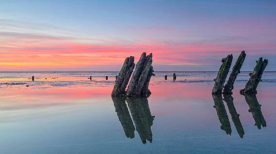 Palen op het wad tijdens zonsondergang van Sjoerd van der Wal