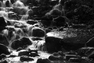 stromende waterval zwart wit