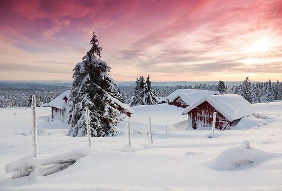 Zonsondergang in Noorwegen van Rob Kints