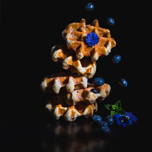 Bosbessen wafel, blueberry waffle