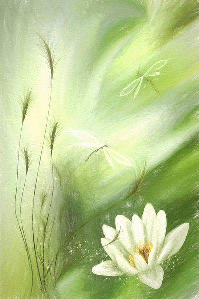 Flowers pastel green collage van Dagmar Marina