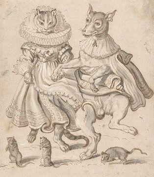 Eine tanzende Katze und ein tanzender Hund, Adriaen Pietersz. van de Venne
