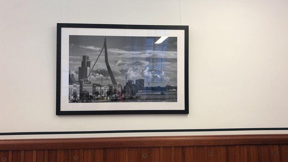 Klantfoto: Erasmusbrug & Noordereiland in Rotterdam | Zwart-Wit van Mark De Rooij
