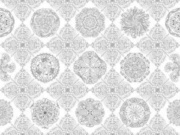Delfts blauw natuurmandala's - zwart/wit van A Vermaak