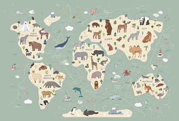 World Map with Animals van AMB-IANCE .com