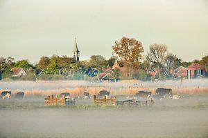 Skyline van het dorp Jisp in de ochtendmist