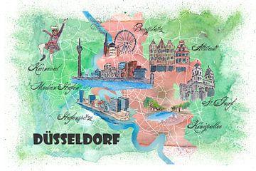Düsseldorf Deutschland Illustrierte Karte mit Hauptstraßen, Sehenswürdigkeiten und Highlights von Markus Bleichner