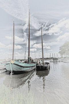 """Zeilschip van het type """"Skutje"""" & een Friese praam van Dick Jeukens"""
