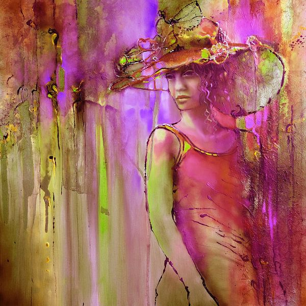 Laura met hoed: roze en paars van Annette Schmucker