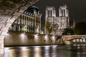 Notre Dame 's nachts vanonder de brug van