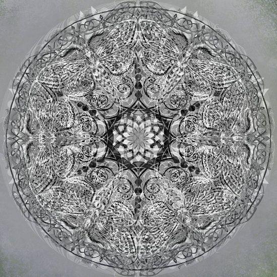 Mandala grafisch, zwart-wit