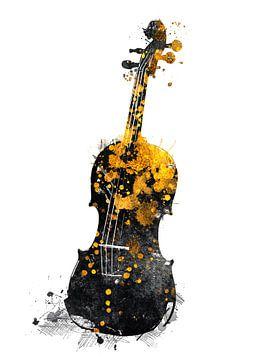 Violoncello 7 muziekkunst goud en zwart #violoncello #muziek van JBJart Justyna Jaszke