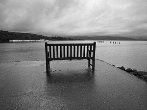 Loch Lomond bij regenachtig weer van