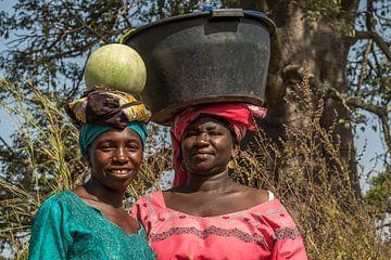 Vrouwen in Gambia, Afrika. Mooi, sterk en elegant. van