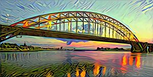 Abstracte skyline van Nijmegen - Panorama schilderij van de Waalbrug bij Nijmegen