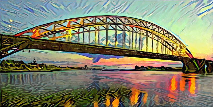 Abstracte skyline van Nijmegen - Panorama schilderij van de Waalbrug bij Nijmegen van Slimme Kunst.nl