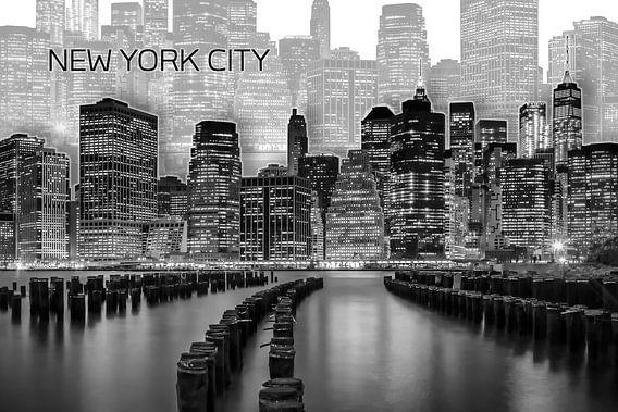 MANHATTAN Skyline | Graphic Art | wit van Melanie Viola