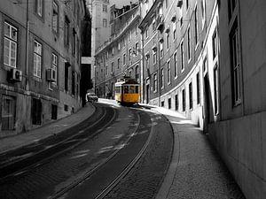 Gele tram van