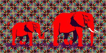 Afrikaanse olifant duo van