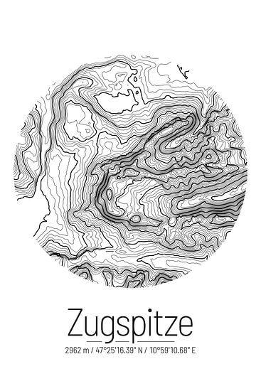 Zugspitze   Kaart Topografie (Minimaal)