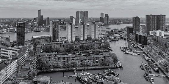 Uitzicht op de Leuvehaven en Wilhelminapier in Rotterdam