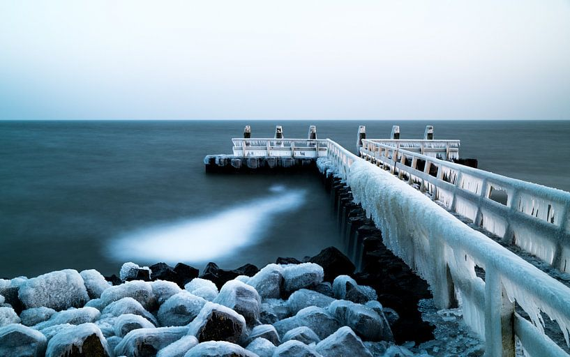 Bevroren pier van Steven Groothuismink