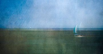Zeilbootje op de Waddenzee van