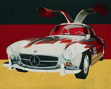 Mercedes 300SL Goellwings uit 1965 voor de Duitse vlag