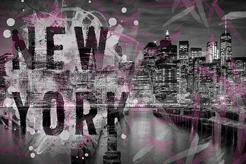 SKYLINE van MANHATTAN, ' s avonds stemming | typografie van Melanie Viola