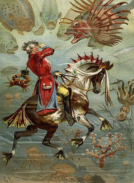 Gottfried Franz, Baron Münchhausen onder water - 1894 van Atelier Liesjes