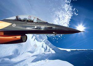 Avion de combat hollandais dans un magnifique paysage de neige (chasseur) sur Cor Heijnen