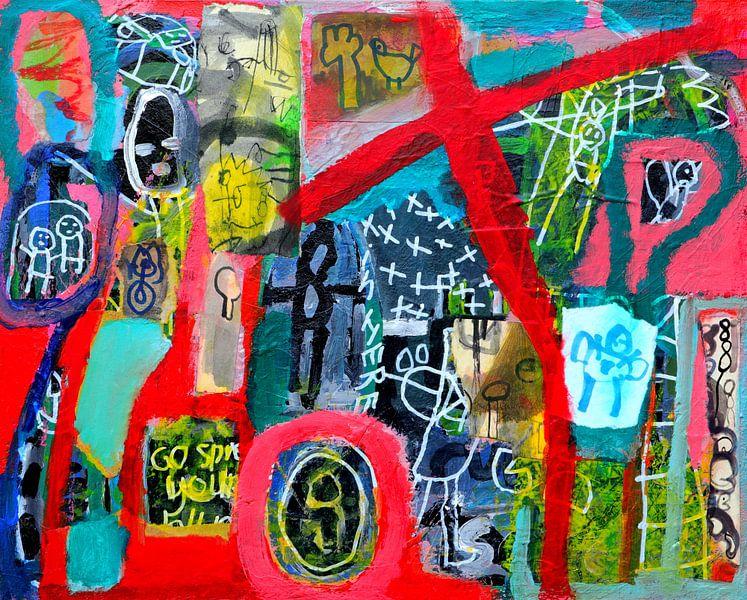 """Collage schilderij """"Spreid je vleugels en vlieg!"""" van Ina Wuite"""