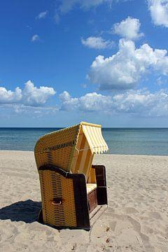 Gelber Strandkorb sur Ostsee Bilder