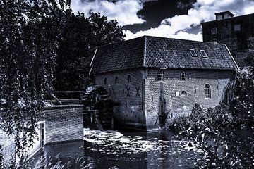 oude watermolen zwart wit van Frank Ketelaar