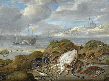 Stillleben mit Tintenfischen, Scholle, Kabeljau, Muscheln und anderen Fischen, Jan van Kessel