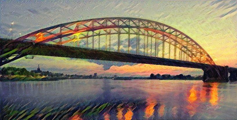 Panorama van Waalbrug - Sfeervol schilderij van Nijmegen van Slimme Kunst.nl