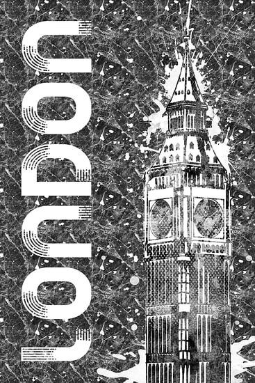 Grafische Kunst LONDEN de Big Ben  van Melanie Viola