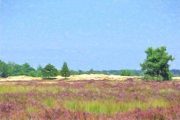 Tekening heide landschap van Lida Bruinen