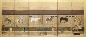 Tosa School - Pferde und Bräutigam im Stall