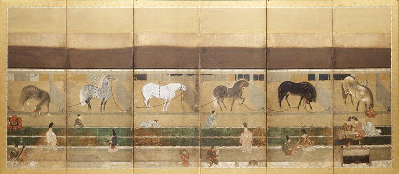 Tosa School - Pferde und Bräutigam im Stall von 1000 Schilderijen