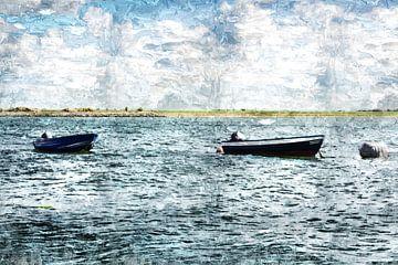 2 sloepen op water bij Sint Philipsland (provincie Zeeland, Nederland) (kunstwerk) van
