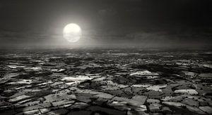 Engelse countryside bij maanlicht van