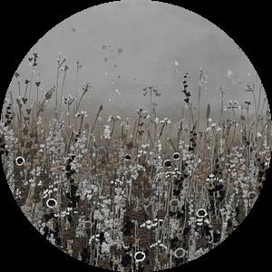 Bloemenveld in naturel en bruintinten van Bianca ter Riet