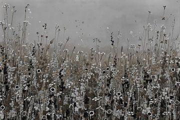 Blumenfeld in Natur- und Brauntönen von Bianca ter Riet