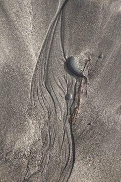 Fijne stromingsstructuren in het zand van Jan Schuler