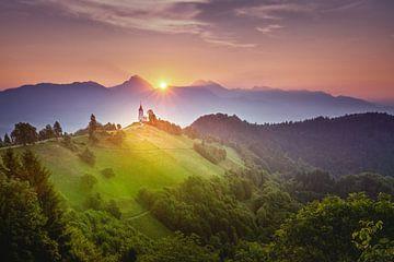 Slowenischer Sonnenaufgang von Dennis Donders