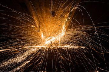 Light Painting avec de la laine d'acier étincelante sur Fotografiecor .nl
