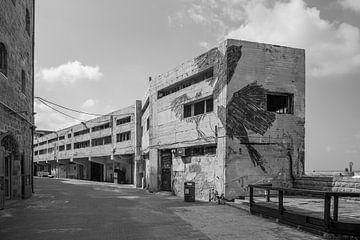 Concrete buildings at the harbor of the old town of Jaffa, Tel Aviv. Israel van Joost Adriaanse