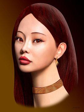 Aziatisch Met Rood Haar van Ton van Hummel (Alias HUVANTO)